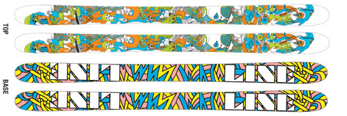 '09 Line Invader Mini Twin Tip Freestyle Skis